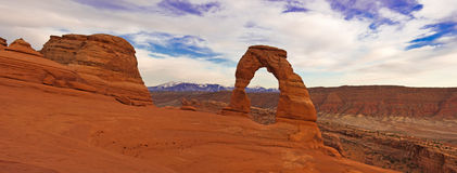 Delicate Arch panorama. Arches National Park Royalty Free Stock Images