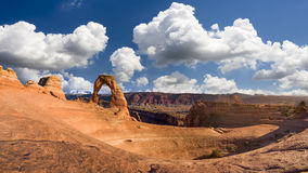 Delicate Arch Panorama, Late Afternoon View Stock Photos