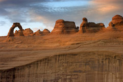 Delicate Arch Sunset. Delicate Arch (Arches National Park) photographed at sunset from lower viewpoint royalty free stock photo