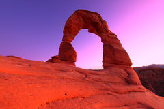 Delicate Arch Sunset Royalty Free Stock Photos