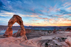 Delicate arch sunset stock photos