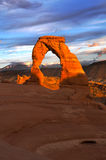 Delicate Arch at Sunset. Delicate Arch against Beautiful Sunset Sky Royalty Free Stock Image