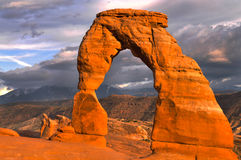 Delicate Arch at Sunset. Delicate Arch against Beautiful Sunset Sky Stock Images