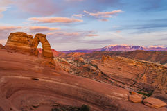 Delicate Arch at Sunset. Delicate Arch against Beautiful Sunset Sky Royalty Free Stock Photos
