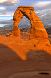 Delicate Arch at Sunset. Delicate Arch against Beautiful Sunset Sky Royalty Free Stock Images