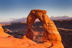 Delicate Arch at sunset Stock Photo