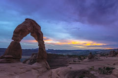 Delicate Arch after Sunset Stock Image
