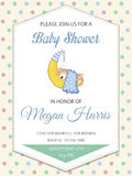 Delicate baby boy shower card with little teddy bear Royalty Free Stock Image