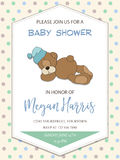 Delicate baby boy shower card with little teddy bear Royalty Free Stock Images