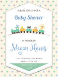 Delicate baby boy shower card with toy train Royalty Free Stock Photos