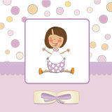 Delicate baby girl shower card. Delicate pink baby girl shower card Stock Images
