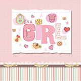 Delicate baby girl shower card. Delicate pink baby girl shower card Royalty Free Stock Photo