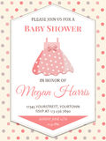 Delicate baby girl shower card with little pink dress. Format Stock Images