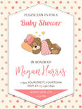 Delicate baby girl  shower card with little teddy bear Royalty Free Stock Photography