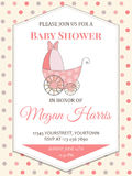 Delicate baby girl shower card with stroller Stock Photo