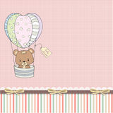 Delicate baby girl shower card with teddy bear Royalty Free Stock Photos