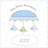 Delicate baby shower card. With fishers toy Stock Photo