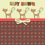 Delicate baby shower card with cats Royalty Free Stock Images
