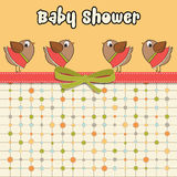 Delicate baby shower card with dressed birds Royalty Free Stock Photo