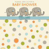 Delicate baby shower card with little elephants Royalty Free Stock Image