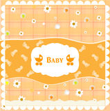 Delicate baby shower card with pram. Vector Stock Images
