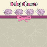 Delicate baby shower card with purple sheep Stock Photo