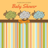 Delicate baby shower card with sheep Stock Images