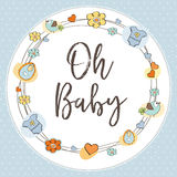 Delicate baby shower card. Vector illustration Stock Images