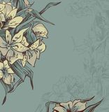 Delicate background with gray-blue flowers Royalty Free Stock Image
