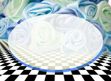 Delicate background with roses on a chess surface Stock Images
