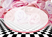 Delicate background with roses on a chess surface Stock Image