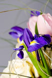 Delicate beautiful bouquet of  iris, roses and other flowers in Royalty Free Stock Photography