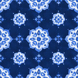 Delicate blue filigree openwork lace pattern Stock Photos