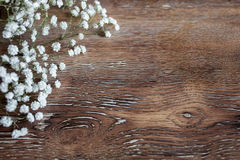 Delicate bouquet of flowers and a wooden abstract background Royalty Free Stock Photo