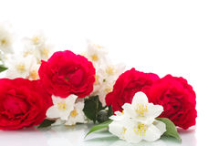 Delicate bouquet of roses and jasmine Stock Photos
