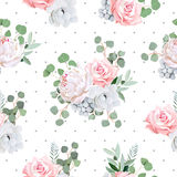Delicate bouquets of rose, peony, anemone, brunia flowers and eucaliptis leaves Royalty Free Stock Image