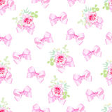 Delicate bows and small rose bouquets seamless vector print. Delicate pink bows and small rose bouquets seamless vector print Stock Photo