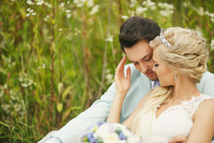 Delicate bride and groom Royalty Free Stock Photo