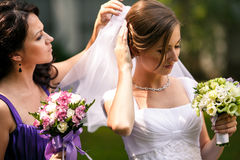 Delicate bridesmaid helps a bride to put on a wedding veil stock photo