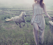 Delicate brunette posing with horse in the background royalty free stock images