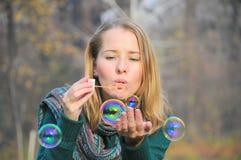 Delicate bubbles (woman portrait) Royalty Free Stock Images