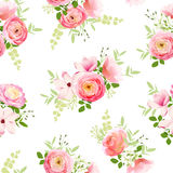 Delicate bunch of spring fresh flowers vector illustration