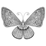 Delicate butterfly with intricate tangled wing design. Hand drawn, suitable for print and coloring. Royalty Free Stock Photos
