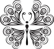 Delicate butterfly silhouette. Drawing of lines and points Stock Image