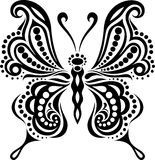 Delicate butterfly silhouette. Drawing of lines and points.Symmetrical image.  Stock Images