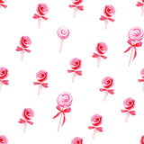Delicate candy bows watercolor seamless vector pattern Stock Photos