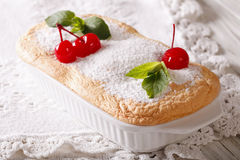 Delicate cherry souffle close up in baking dish. horizontal Royalty Free Stock Image