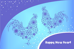 Delicate Christmas card with patterned roosters in the style of. Lace of snow on a blue background Stock Images