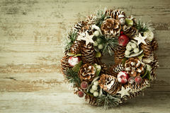 Delicate Christmas wreath of pine cones Royalty Free Stock Photos
