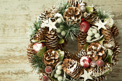 Delicate Christmas wreath of pine cones Royalty Free Stock Image